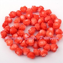 "4-6x5-7mm Natural Coral Pink Carved Flower Gem Stone Beads Strand 15"" For DIY Necklace Bracelet Jewelry Making,Free Shipping"
