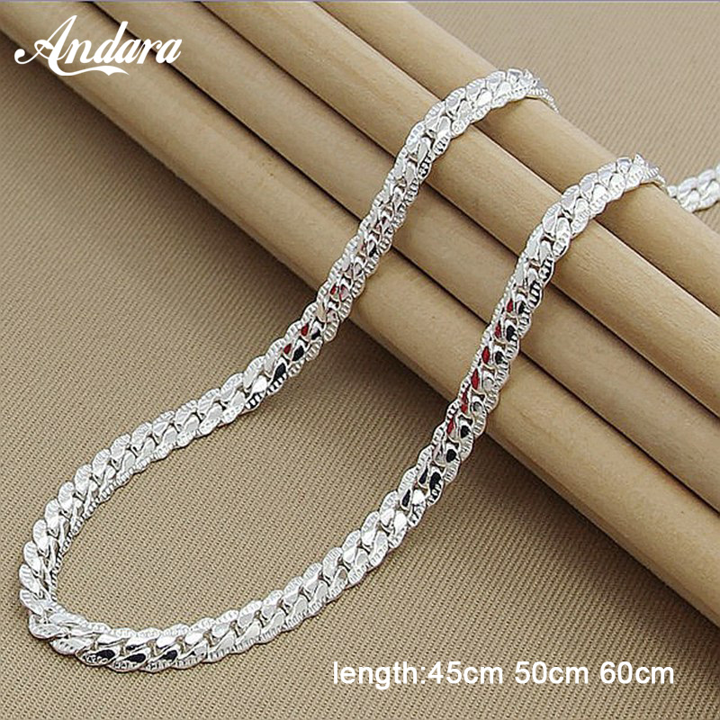 Wholesale Price 6MM Full Sideways Necklace for Women Men 925 Sterling Silver Jewelry Snake Chain Necklaces(China)