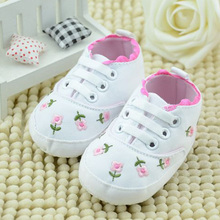 Classic White Baby Shoes Pink Girl Footwear Newborn Sneakers Lace Embroidered Flower Print Kids Boot