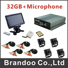 4 channel MDVR kit for tranning car used, 32GB sd card, separate microphone for audio recording