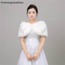 Forevergracedress Hot Sale 2018 Cheap Fashion Faux Fur Stoles Wedding Wrap Winter Wedding Bolero Jacket Bridal Accessories Cape(China)
