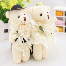 6 pairs/lot Valentine's day Cartoon teddy bear flower bouquets bear for wedding wholesale sweet baby Party Favor dolls pendant