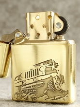 MJL wholesale engraving car logo lighter brand Genuine copper gold liner with box(China)
