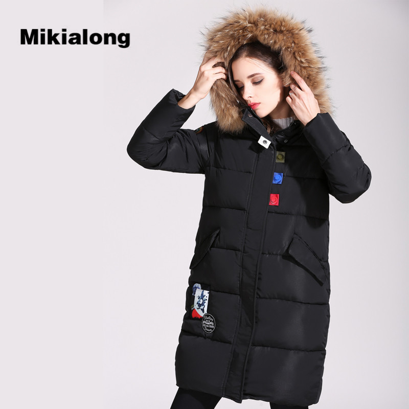 Mikialong 2017 New Fashion Hooded Big Fur Collar Winter Coat Women Parka Casual Cotton Padded Long Jacket Women Chaqueta MujerÎäåæäà è àêñåññóàðû<br><br>