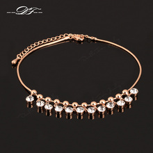 Bohemia Style Shiny Austrian Crystal Anklets Rose Gold Color Fashion Brand Vintage Jewellery Cubic Zirconia Wholesale DFA016