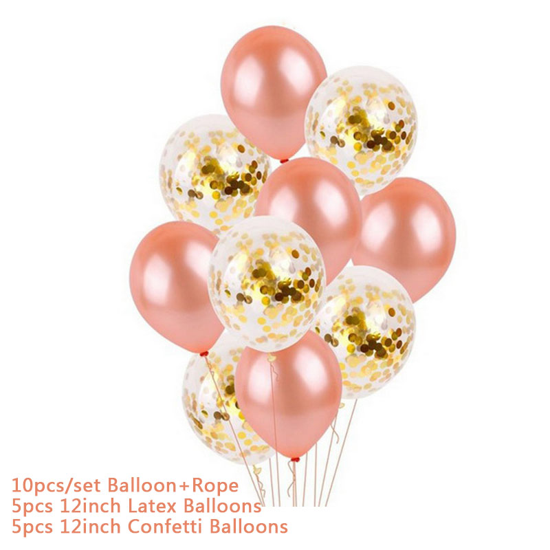Hoomall 10/14PCs Confetti Air Balloons With Rope Heart Star Gold Champagne Latex Helium Balloon Wedding Decorations Party Supply 20