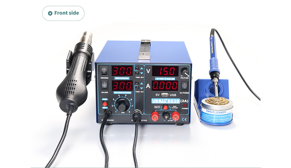 3 In 1 SMD Rework Soldering Station with Soldering Iron Hot Air Gun With 5V 2A USB DC Power Supply BGA Desoldering Welding Repair Tool 04