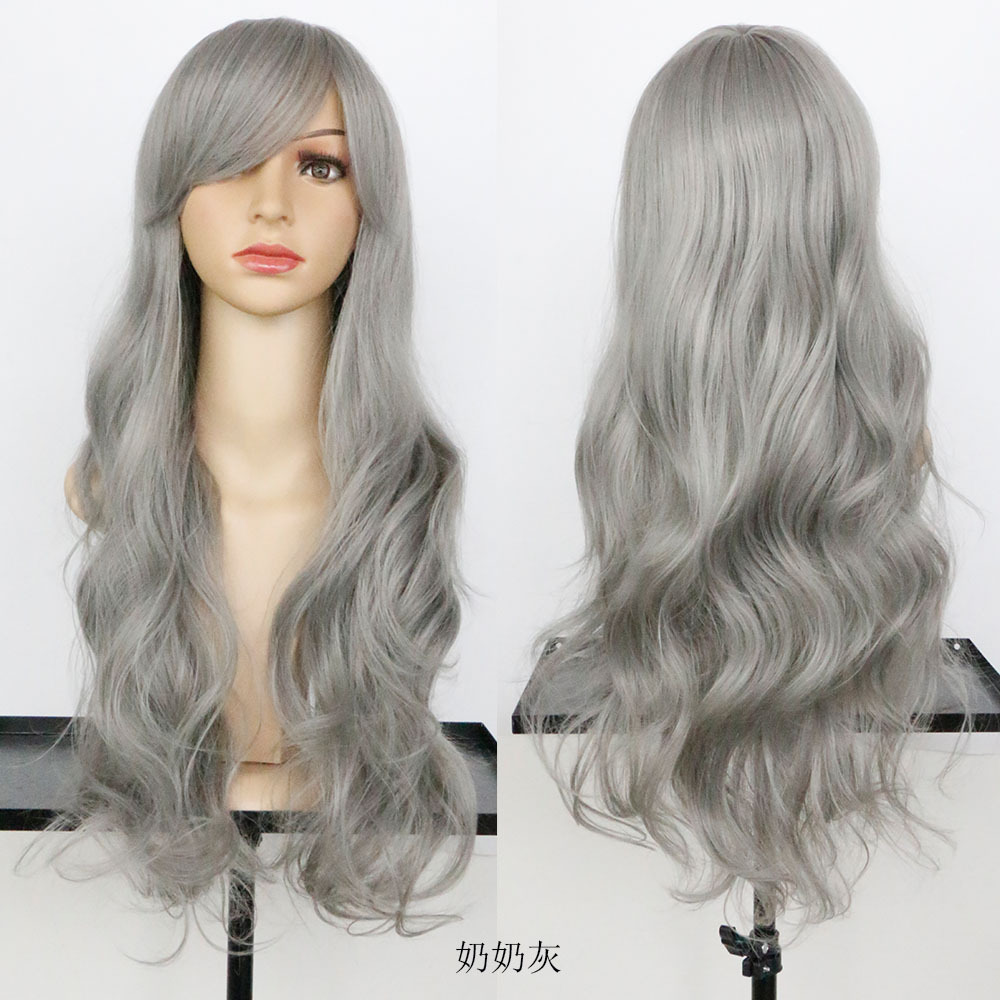 Fashion Women Full Lace Wigs 28 Slanting Bang Long Wavy Synthetic Hair Extension 215g Natural Puffy Hair Style For Lady<br><br>Aliexpress