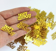 50g Girl kids 1st 16th 80th birthday party table decoration 30*15mm Gold GLITZ  HAPPY BIRHTDAY Foil Sprinkles METALLIC CONFETTI