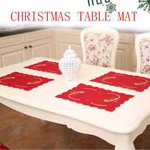 Urijk 1PC Red Christmas Tablecloth Hollow Embroidery Table Cloth For Dining Table Fit New Year Christmas Decorations Candles Pad