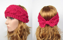 2015 New Fashion Crochet Headbands Women Bowknot Knitted Headband Hair Band Winter Headwraps Hair Accessories
