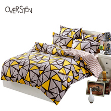 OVERSTEN Duvet Cover Set For Twin Full Queen King Size Single Double Geometric Pattern Quilt Cover Bedding Set With PillowCase(China)
