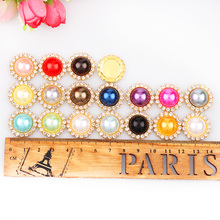 2017 Mixed Color 14mm Pearl Button Brass 21mm Gold Metal Round Tray Rhinestone Cabochon Base Cameo Setting DIY Jewelry Charms(China)