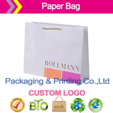 Luxury paper bags with custom logo,PP rope handles,matt lamination,made of 170g art papervv  ribbon