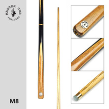 Thailand import Master Snooker cue, Model M8, Cue Length 145cm, Cue Tip 9.5mm, Ash Wood Shatf, Handmade 3/4 Billiard Cue