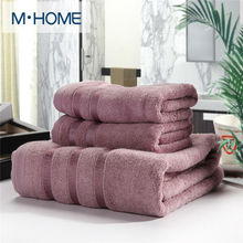 20% Cotton + 80% Bamboo Fiber Towel Set Men Absorbent Beach Bath Towel For Washcloth Solid Bathroom Furniture Home Textile 3PCS(China)