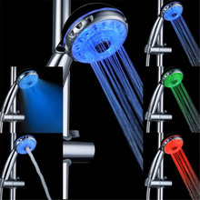 Three Mode Romantic 3 Color Temperature Sensor Water Glow Led Shower Head Bathroom Spa(China)