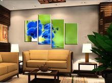 4 Piece Hot Sell Modern Wall Painting Art Picture Paint on Canvas Prints Blue orchid bud Bamboo Inverted reflection in water(China)