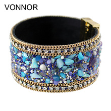 VONNOR Jewelry Fashion Women Leather Bangle Bracelet with Magnetic clasp Stones Bracelets Female Accessories(China)