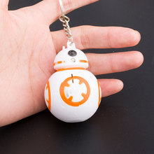1PCS 2017 New Arrival Star Wars Keychains Anime BB8 Droid Robot LED Keychain Flash Sound Action Figures Stormtrooper Toy Gifts(China)