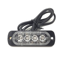 2pcs 12V-24V 4 LED Strobe Warning Light car Truck Grille Flashing Emergency Lightbar Beacon Lamp led Daytime running lights