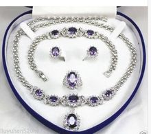 Fast shipping + women's jewelry Purple gem GP Earring Bracelet Necklace Ring set(China)