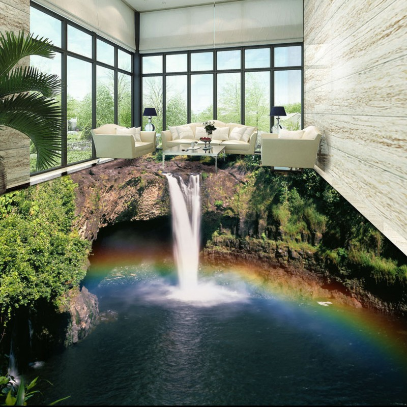 Free Shipping Rainbow Waterfall 3D mountain flooring painting hotel square self-adhesive floor wallpaper mural<br>