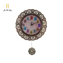 *Western style Retro Pendulum Clock Metal Case Quartz Movement Creative Wall Clock Decorative Home