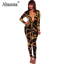 Abasona Women Jumpsuits Chain Printed Sexy Club Rompers Womens Jumpsuit Bow Sashes Long Sleeve Autumn Overalls Female Pants