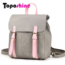 Toposhine Fashion PU Women Backpack Cover Simple School Bag Fashion High Quality Women Backpacks Panelled Girl Shoulder Bag 1036