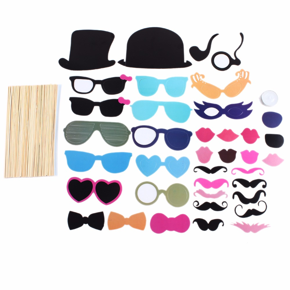 36PCS/S Wedding Party Decoration Photo Booth Props Funny Glasses Mustache props baby shower Married Photo Booth Props(China)