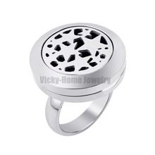 20mm Many Stars Locket Ring with Crystals Dropship Essential Oils Stainless Steel Aromatherapy Diffuser Locket Ring(China)