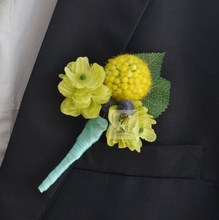 5Pcs/Set Hand Made Best Man Groom Boutonniere Gold Fruit Silk Flower Party Prom Man Corsage Wedding Man Suit Pin Brooch(China)