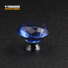 Door Handles Home Shoe Cabinet Wardrobe Cupboard Closet 40mm Diamond Crystal Glass Alloy Round Drawer Pulls Knobs Furniture