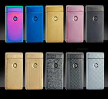 Cigarette lighter Smoking Accessories Electric Arc Windproof Rechargeable Flameless No Gas Metal Pulse USB Lighters with box(China)