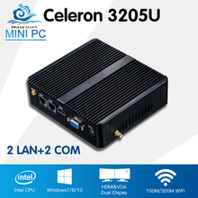 Mini Desktop Computer Celeron 3205U Mini PC High Quality Win 10/8/7 Linux 2*Lan Mini Computador Wifi HTPC TV box 2*Com(China)