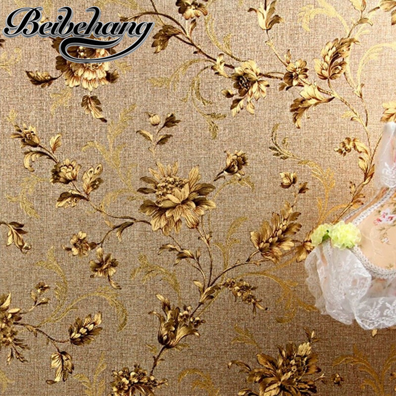 beibehang Modern Chinese Gold Foil Wallpaper Classical Golden Flower Restaurant Living Room Background papel de parede wallpaper<br>