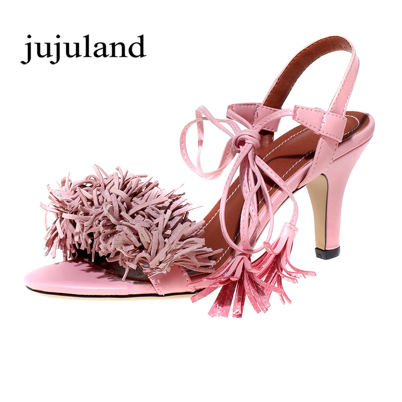 Summer Women Sandals Womens Shoes Sweet Fashion Casual Ankle Strap Solid Med Heels Thin Heels Ankle Strap Flock Fringe<br>