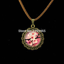 Red plum blossom art pture pendant glass cabochon dome leather Necklace supernatural accessories personalized gift  L 091