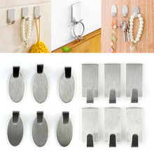 6PC/Lot White Stainless Steel Family Robe Hanging Hooks Hats Bag Key Adhesive Wall Hanger Bathroom Kitchen Accessories
