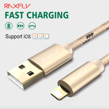 RAXFLY Data Charging Cable For iOS iPhone 5 5s SE 6 6s Plus 7 7 Plus Durable Woven Data Sync Phone Cable For iPad Mini 1 2 3 Air