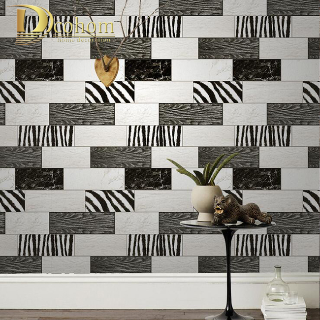 Fashion Black White Wood Textured Brick Wallpaper For Living room Bathroom Waterproof Vinyl Wall paper Modern Home Decor R568<br>