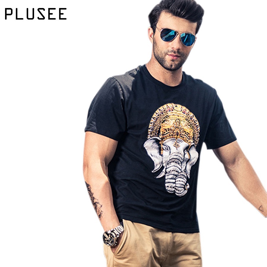Plusee Men T Shirt Plus Size Black Summer Print India Elephant Oversize Top Brand Casual 4xl 5xl 6xl Clothing Tee
