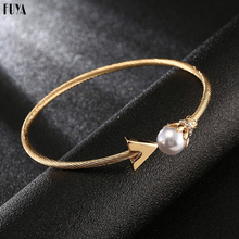 Adjustable Size Opening Spiral Thread Bangles For Women Small Cube Inlay Rhinestones With Pearl Bracelets&Bangle Fashion Jewelry