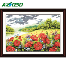 Flowers Scenery Counted Cross Stitch Kits Painting Wall Crafts Needlework Embroidery Cross-Stitch Sets F020