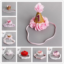 Handmade  Newborn Mini Felt Glitter Crown Flower Headband For Girls 1st Birthday Party DIY Garments Hair Accessories