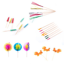 W 50pcs/pack Drink Fruit Cake Sticks Party Decor Peacock Umbrella Cocktail Firework Goldfish Wedding Party Decoration