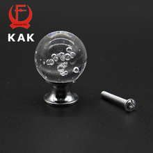KAK SJ2011 30mm Bubble Ball Design Clear Crystal Glass Knobs Cupboard Drawer Pull Kitchen Cabinet Wardrobe Handles Hardware