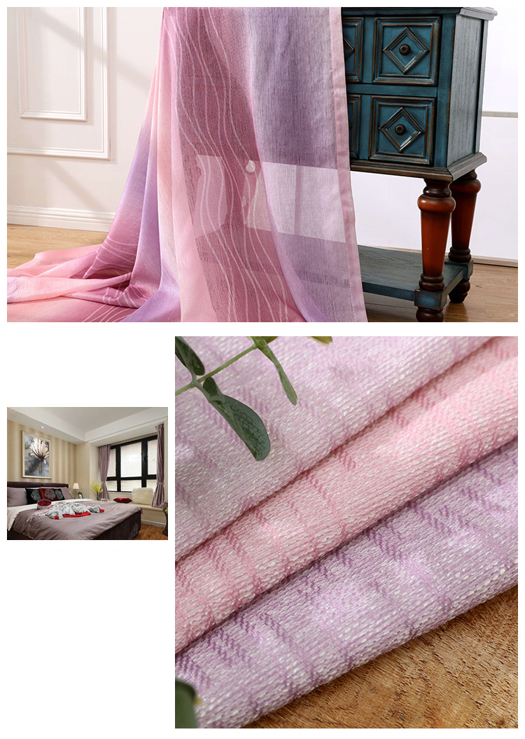 White Silk Cotton Hemp Color Gradient Shading Printing Water Waves Curtains for Living Room Bedroom Shading 12
