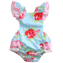Infant Baby Girls Floral Ruffle Romper Dress Jumper Jumpsuit Sleeveless Newborn Kids Girl Summer Sunsuit Clothes(China)